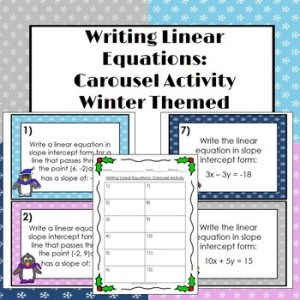 Writing Linear Equations Carousel Activity: Winter Holiday Freebies