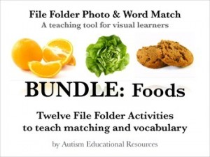 BUNDLE: Twelve File Folder Activities teaching Matching & Vocabulary of Foods: Autism Resources