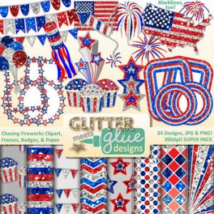 Chasing Fireworks Clipart, Frames, Badges & Paper - 4th of July, Veterans Day