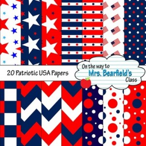 USA Patriotic Digital Papers {20 Backgrounds}