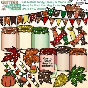 Fall Festival Candy, Leaves, & Mason Jars Clip Art: Fall-Themed Classroom Resources