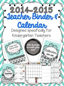 Turquoise & Gray Teacher Binder/Calendar 2014-2015 {Editable}