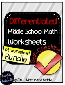Differentiated Middle School Math Worksheets
