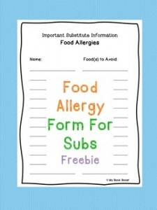 Food Allergy Form For Subs