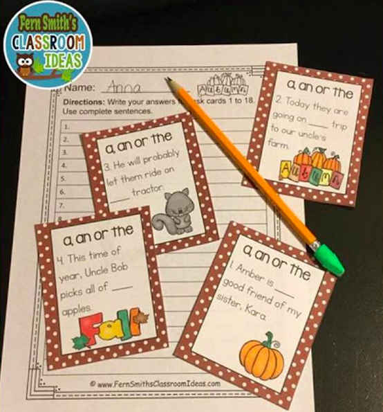 Fall - Correct Word Usage - Task Cards - Set One