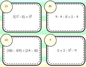 Order of Operations Self-Checking Task Cards