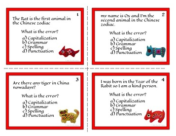 Chinese New Year ELA Task Cards for Mechanics and Grammar (CCSS Aligned)