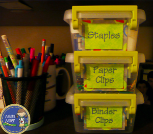 Even if you only have a few bins to label, like this stack of staples, paper clips, and binder clips, having each clearly marked will help you find what you need immediately.