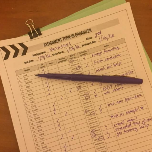 This teacher uses grading sheets as cover pages for each student's assignment so that it's clear what the next steps are for student and teacher.