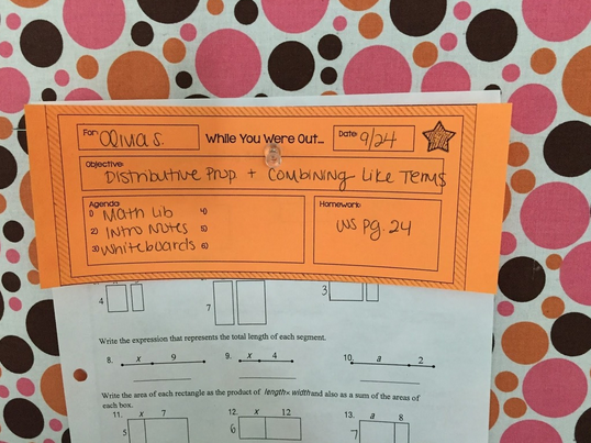Absent slips are great to use, especially if your students sit in pairs or groups. This way, if a student is absent, one of their partners can claim a slip and share the assignments with their classmate later.