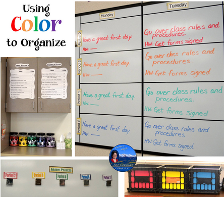 Color coding your classroom can help you work more effectively. Here, this teacher has color-coded her whiteboard schedule.