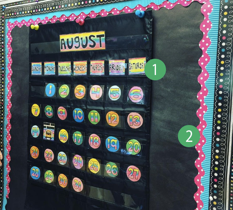 This colorful calendar is so fun and functional! We love how it looks against the black bulletin board. 1st grad teacher Mel D. can't wait to use it this year!