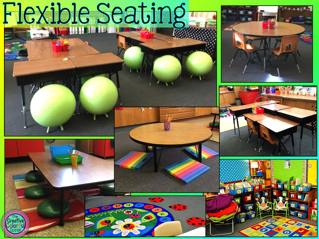 Photo of a classroom with flexible seating, featuring yoga balls with legs, kneeling mats, and standing desks.
