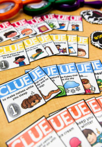 Clues from the phonics card matching game