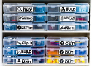 Organized and clearly-labeled Word Work bins allows students to go grab a bin, find a quiet place in the classroom, and begin working on phonics the way that they want.