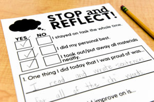 "These Stop and Reflect worksheets allow students to ""check-in"" with themselves, behaviorally and academically."