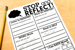 This section of the Stop and Reflect worksheet asks students to share how they worked on various phonics components, like what they read and wrote about on a given day.