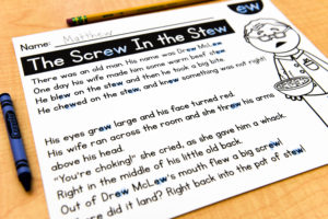 A student's worksheet of the poem, A Screw in the Stew. This copy of the poem allows students to mark the parts of words that make the same sound.