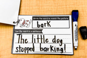 A completed card for the I Can Write phonics game