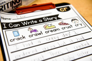 Here, you can see the key focus words that students need to use when writing their story.