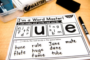 Option two: Students try to make as many real words with the letters or letter-pairs provided.