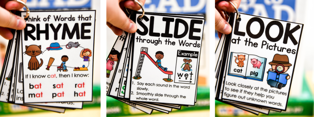 These Rhyme-Slide-Look cards help break reading strategy terms for your students.