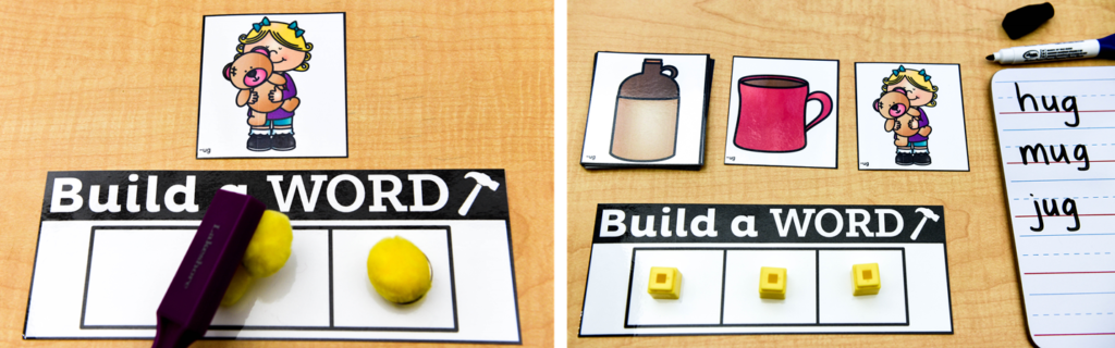 "Use this phonics game to help students associate pompoms or chips with sounds to ""build"" a word."