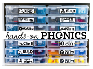 Bins of reading and writing phonics activities