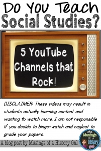 5 YouTube channels for Social Studies teachers by History Gal