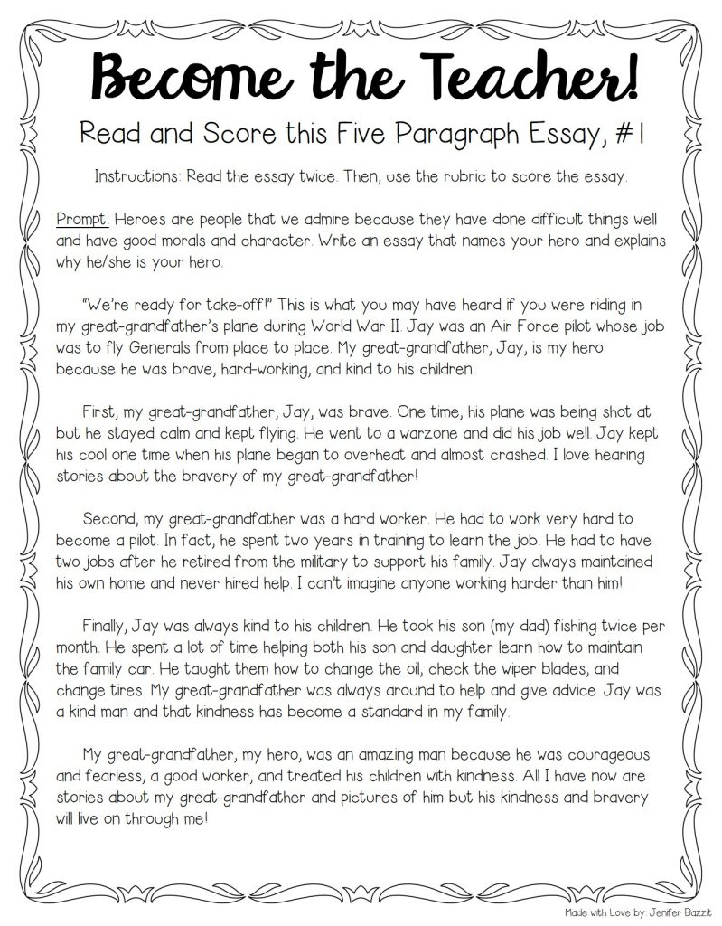 Mahatma Gandhi Essay In English For Several Years Now Th Grade Teacher Jenifer Bazzit Has Been Teaching  Five Paragraph Essay Compare And Contrast High School And College Essay also Proposal Essay Topic List Tips For Teaching  Grading Five Paragraph Essays  The Tpt Blog The Yellow Wallpaper Analysis Essay