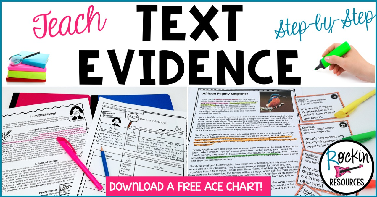 Teach text evidence with this step by step guide from Rockin Resources, available on Teachers Pay Teachers