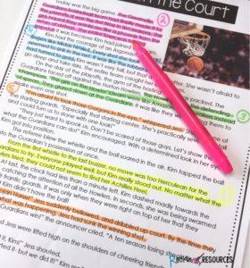 Using color coded highlighters can help students better understand how to identify evidence in text passages, and be more engaged while they work.