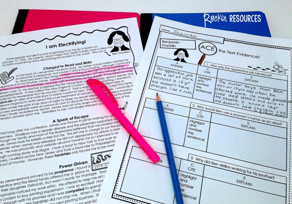 To practice the ACE method for text evidence, you can pair a reading passage with a worksheet and ask students to complete ACE for each reading passage.