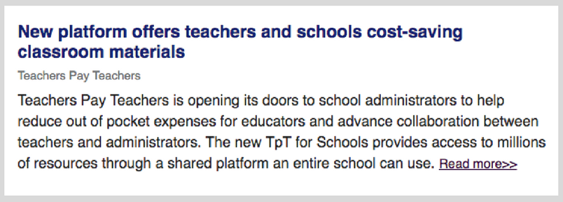 DA (District Administration) recently featured TpT for Schools in its daily newsletter.