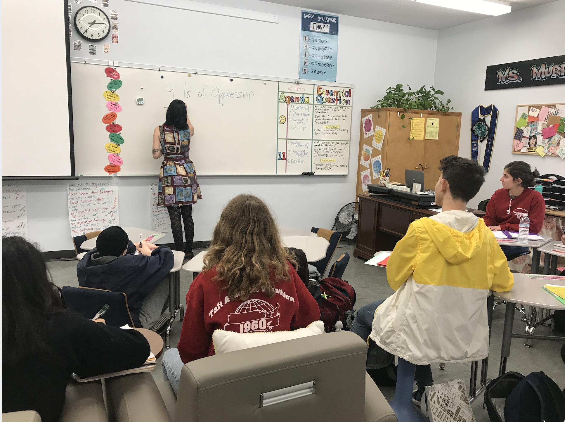 High school ELA teacher Angelina Murphy teaches a lesson on oppression to her class.