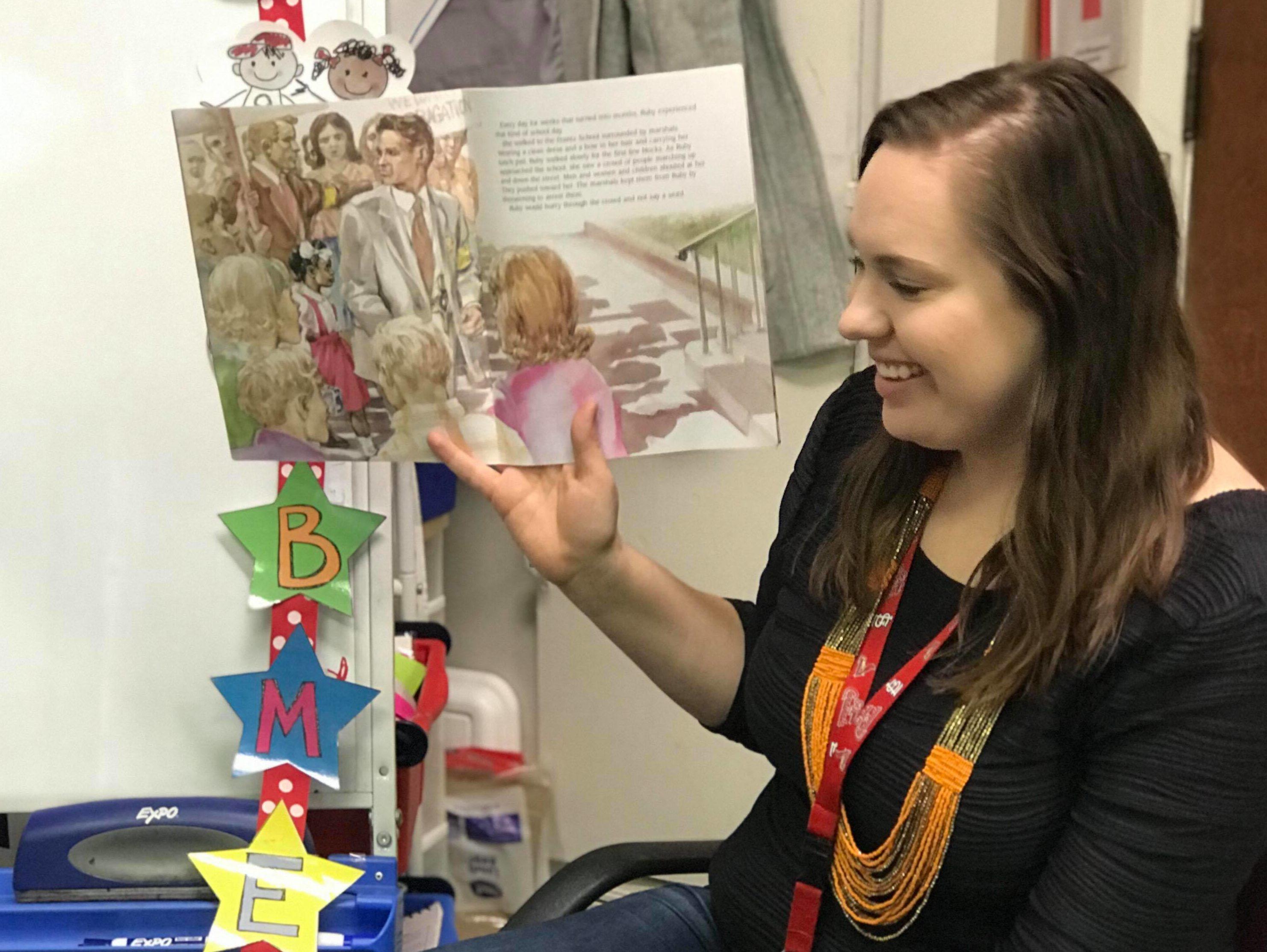Kindergarten teacher Anna Kazandjian reads a picture book to her class at Franklin Academy.