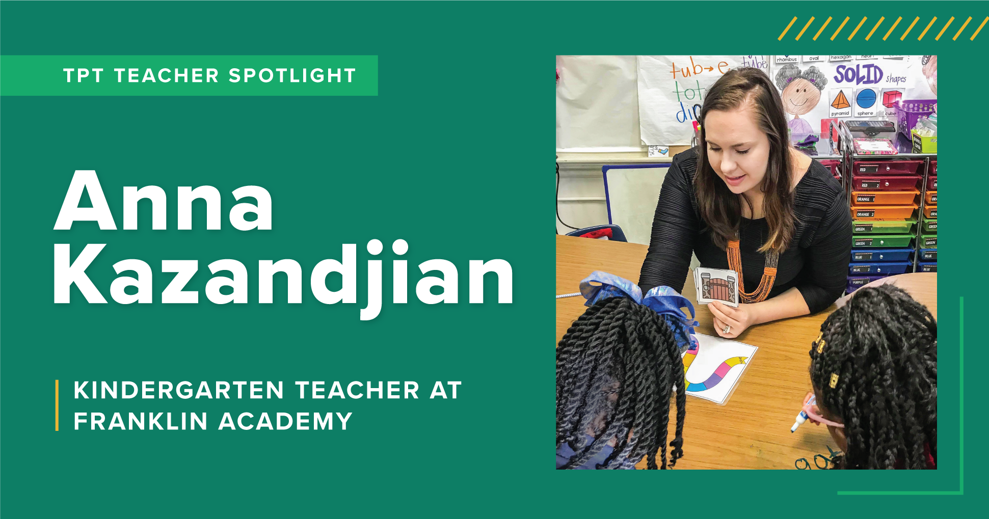 A TpT Teacher Spotlight on Anna Kazandjian, a Kindergarten teacher at Franklin Academy.