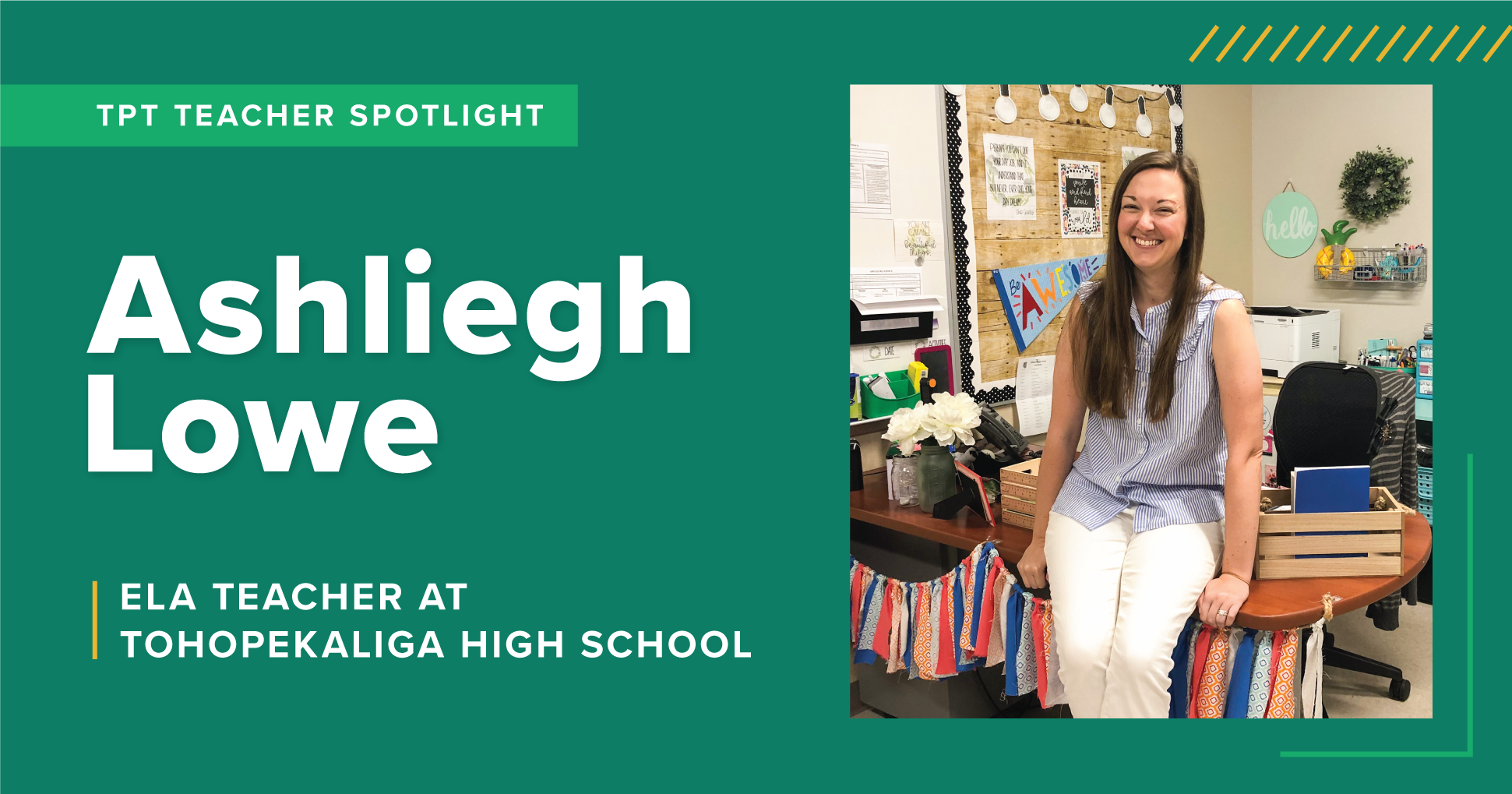 A TpT Teacher Spotlight on Ashliegh Lowe, a high school ELA teacher at Tohopekaliga High School.