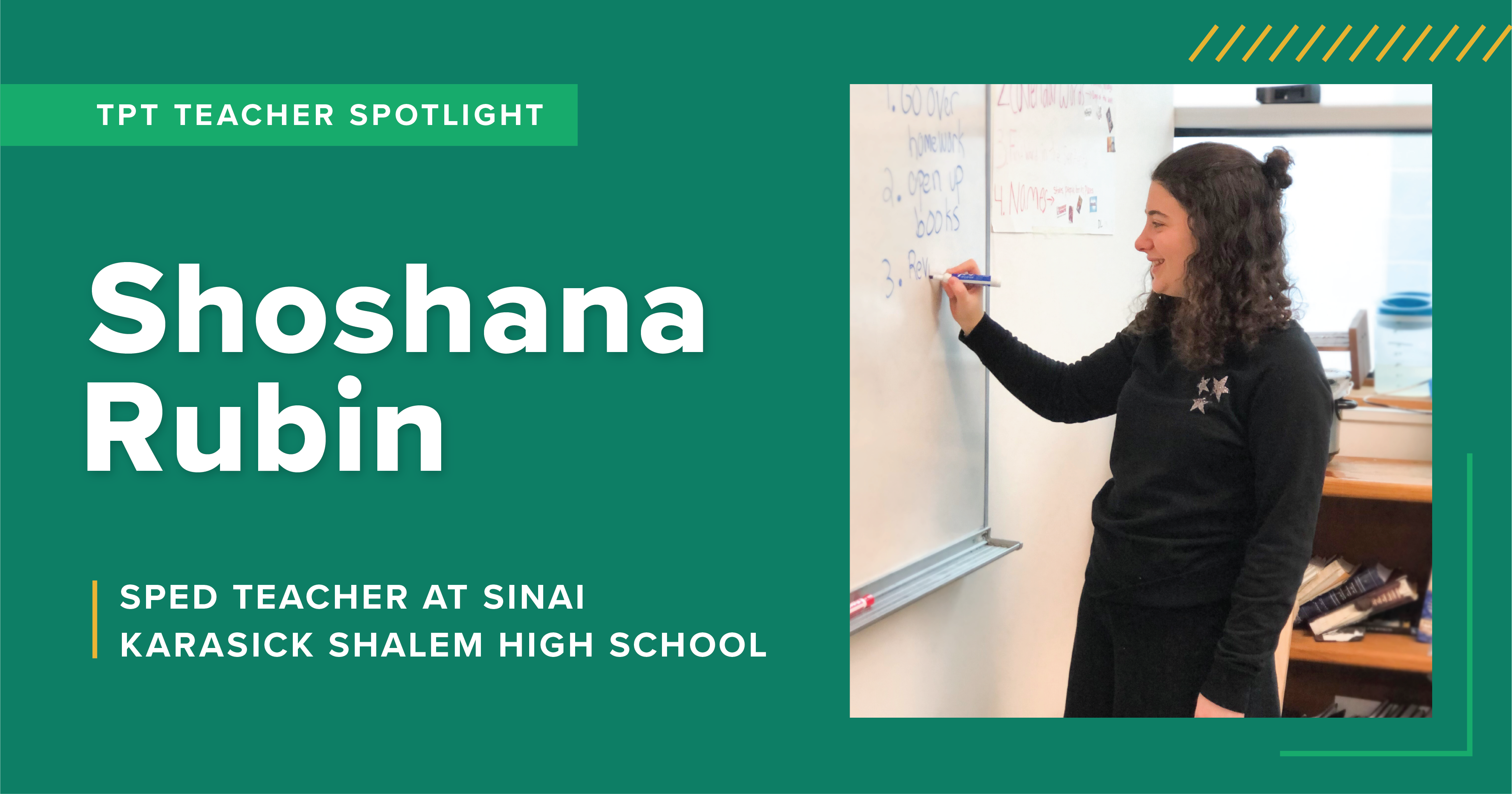 A TpT Teacher Spotlight on Shoshana Rubin, a high school special education teacher at Karasick Shalem High School.