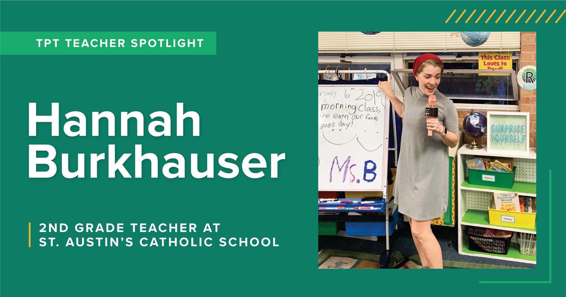 A TpT Teacher Spotlight on Hannah Burkhauser, a 2nd grade teacher at St. Austin's Catholic School.