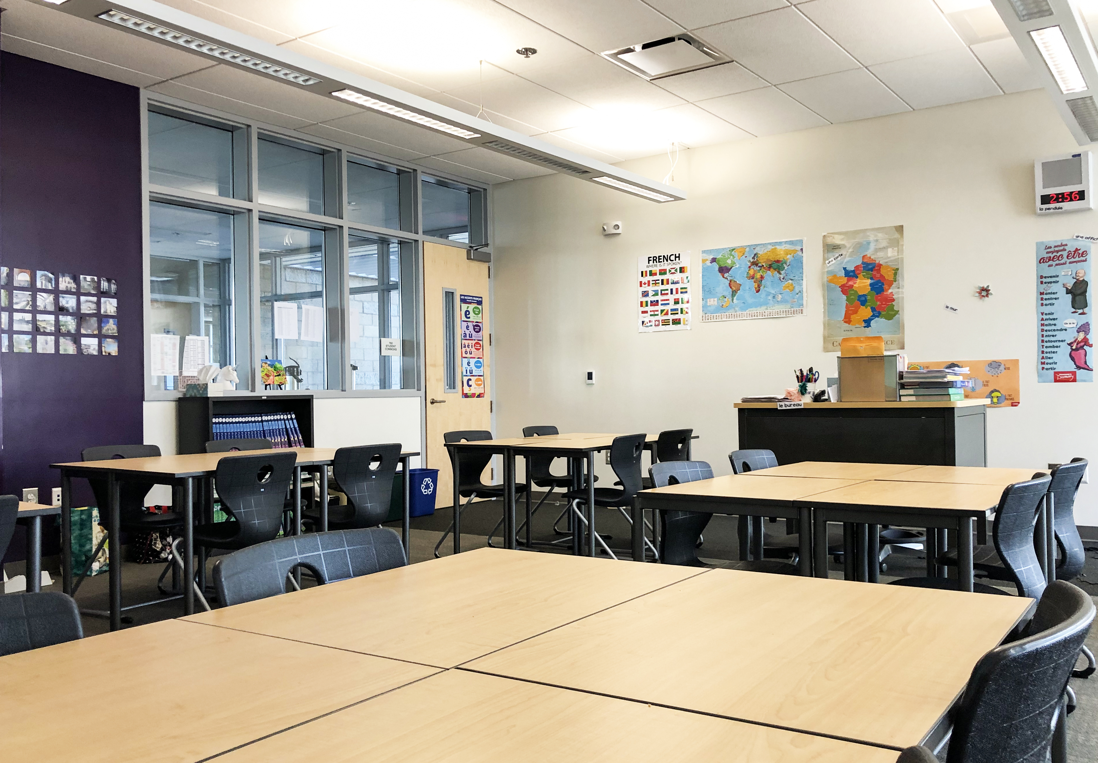 A view of Megan Kirby's empty high school French classroom.