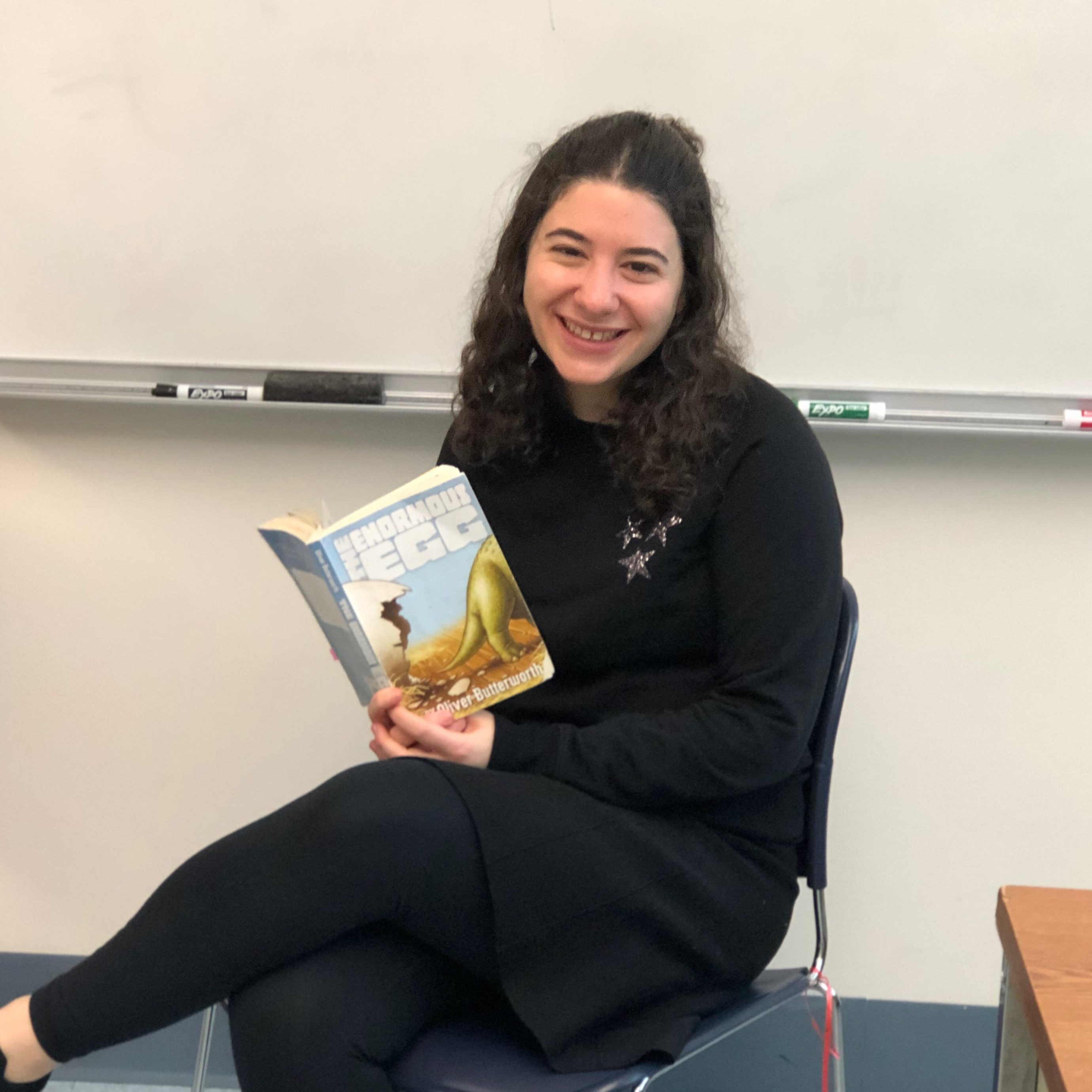 "High school special ed teacher Shoshana Rubin reads ""The Enormous Egg"" to her class."