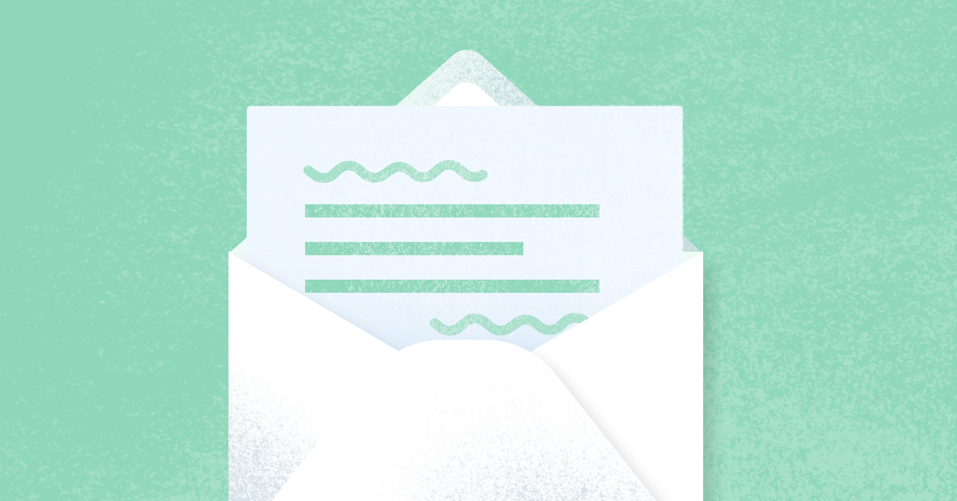 A open letter on a light green background.