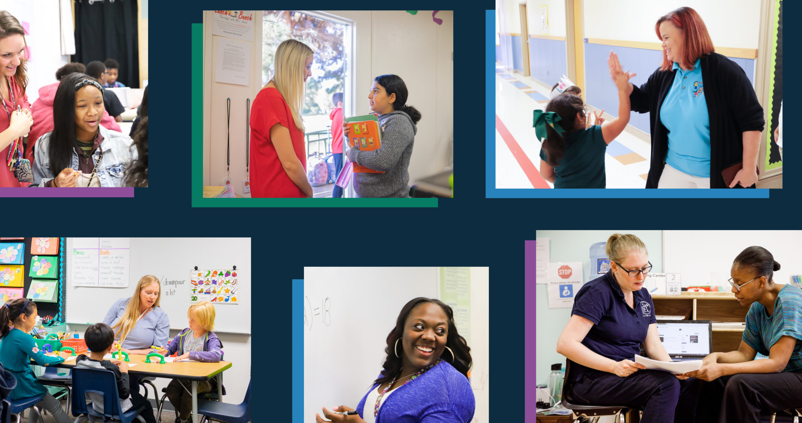 a collage photographs of educators interacting with students