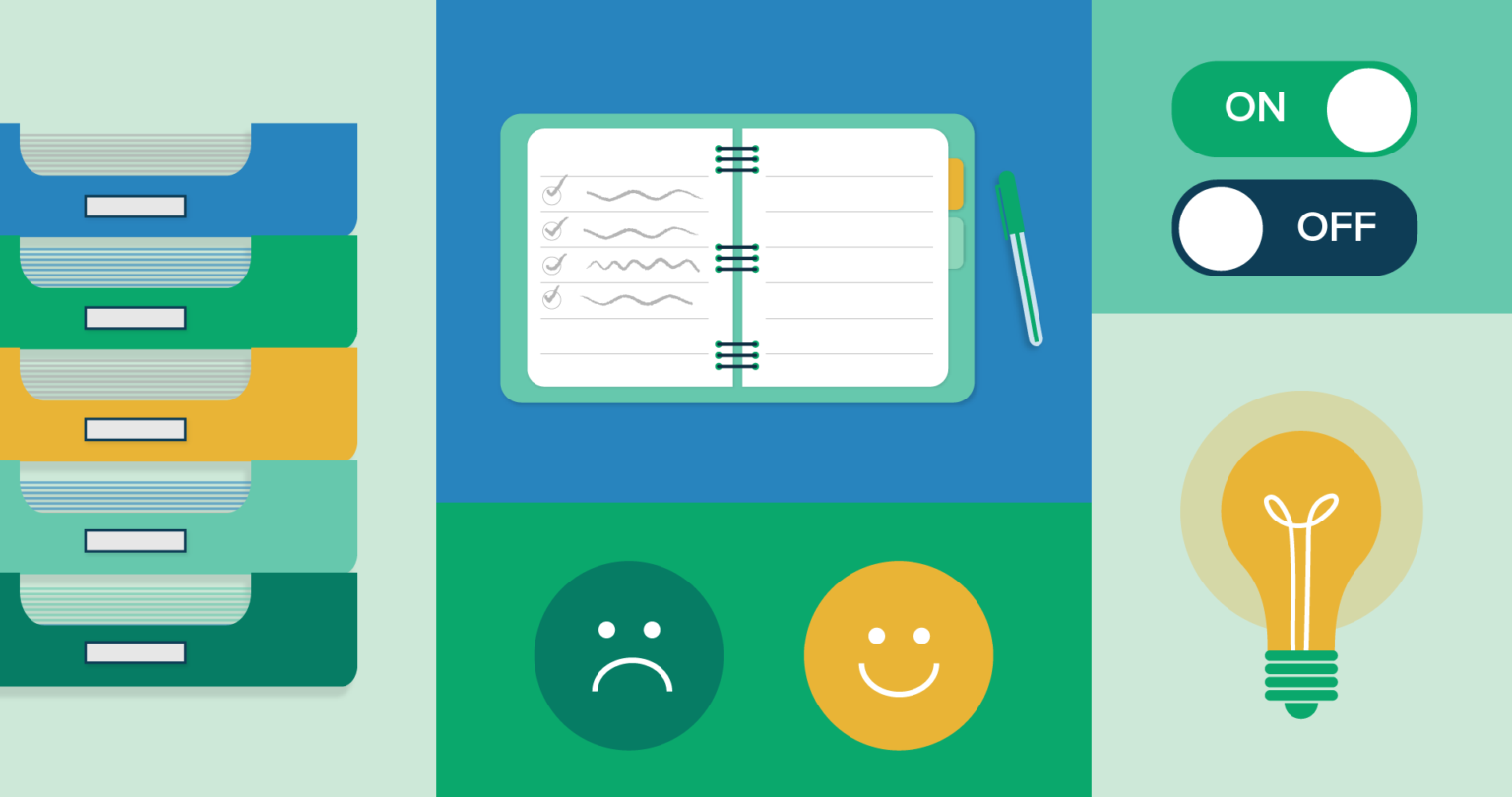 illustration of a file organizer, a notebook, a happy and sad face, a lightbulb, and two on off toggle buttons