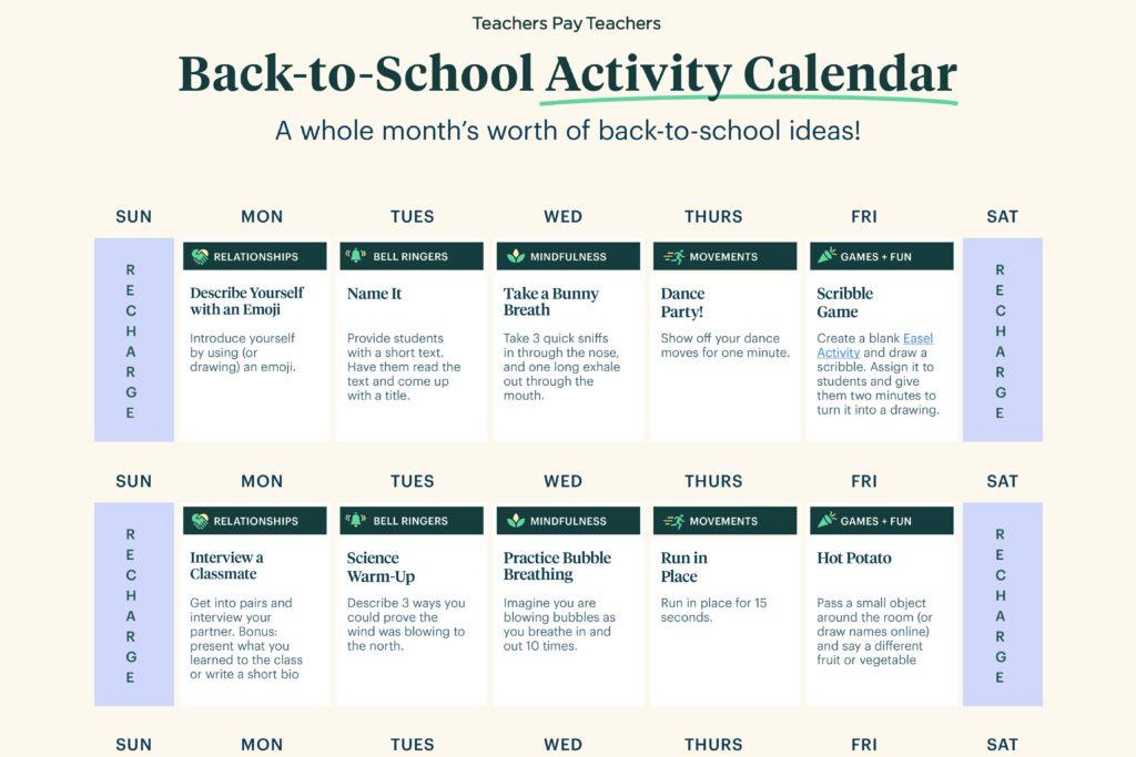 TpT Back to School Activity Calendar