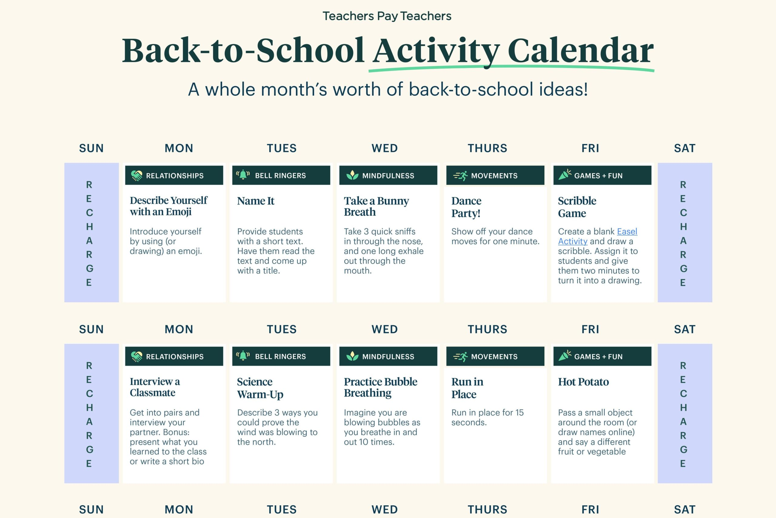 Back-to-School Activity Calendar