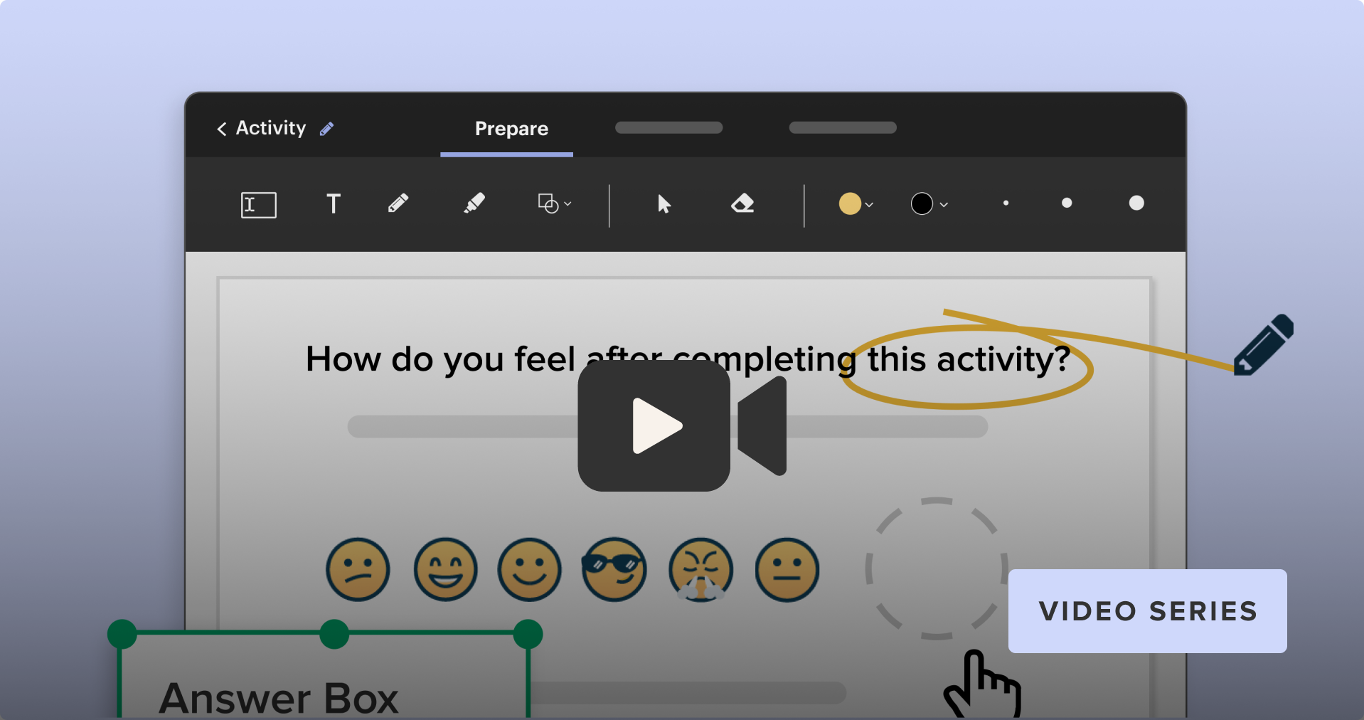 """A video """"play"""" button in front of an example Easel Activity"""